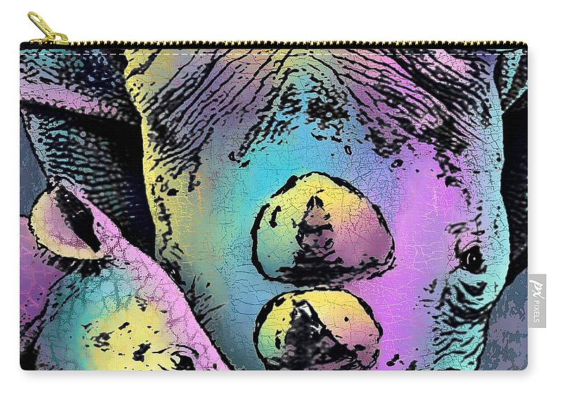 Savanna Carry-all Pouch featuring the digital art Rhino And Baby by Marlene Watson