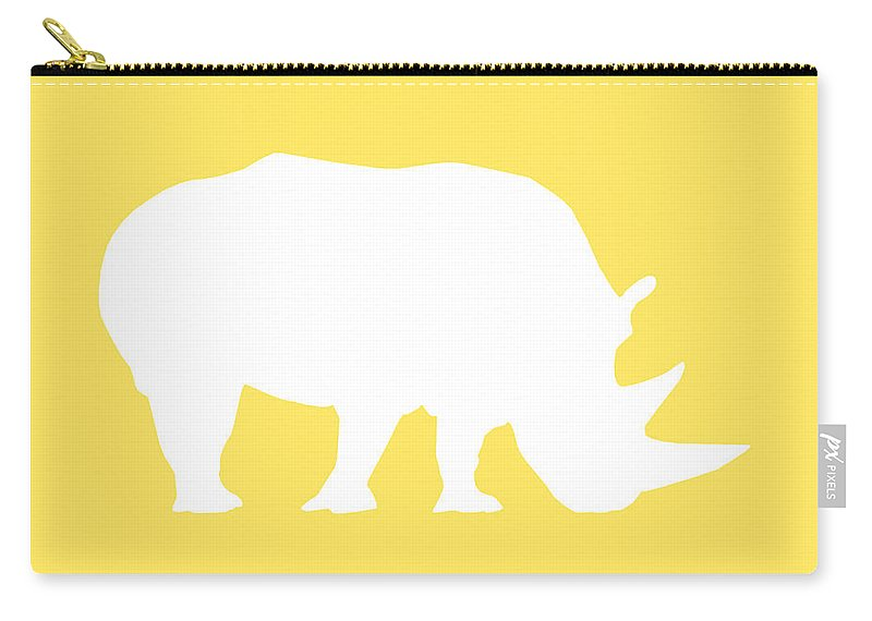 Graphic Art Carry-all Pouch featuring the digital art Rhino In Yellow And White by Jackie Farnsworth