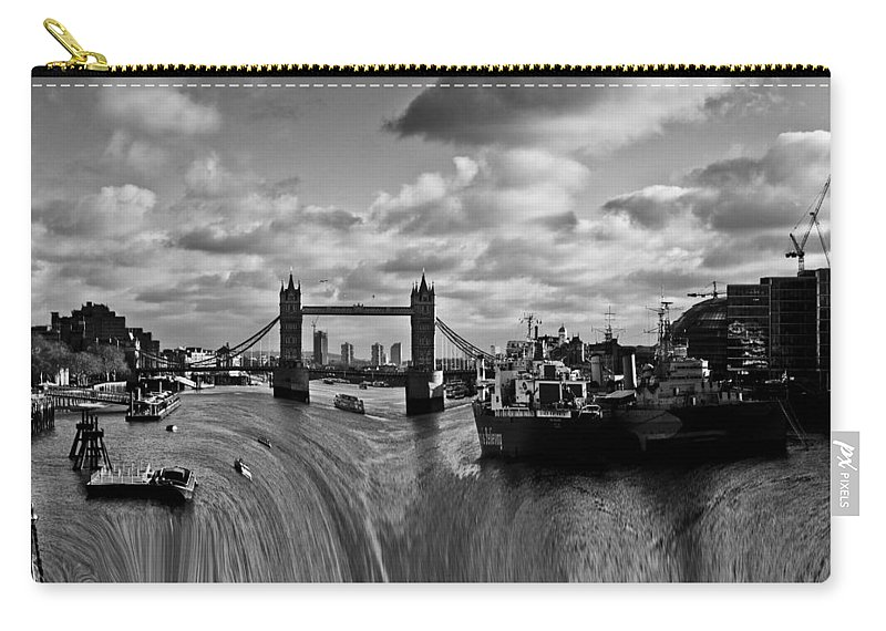 Waterfall Carry-all Pouch featuring the photograph River Thames Waterfall by David Pyatt