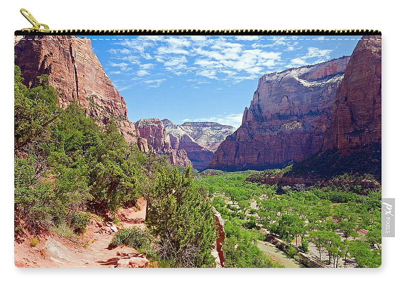 National Carry-all Pouch featuring the photograph River Through Zion by Alexey Stiop