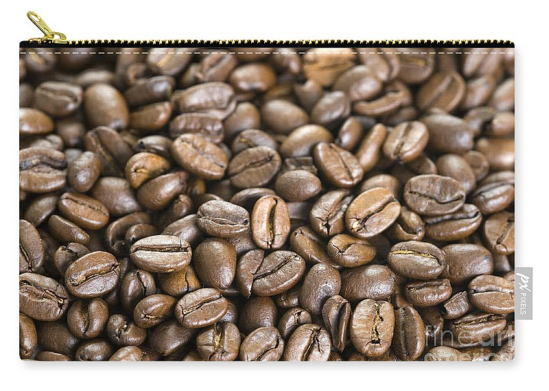 Coffee Beans Carry-all Pouch featuring the photograph Roasted Coffee Beans by Lee Avison