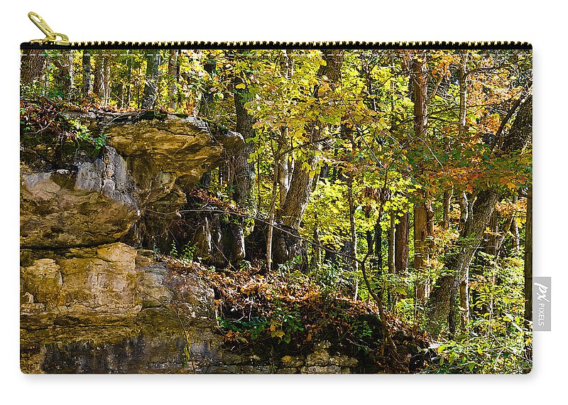 Branches Carry-all Pouch featuring the photograph Rock Shelf And Forest by Ed Gleichman