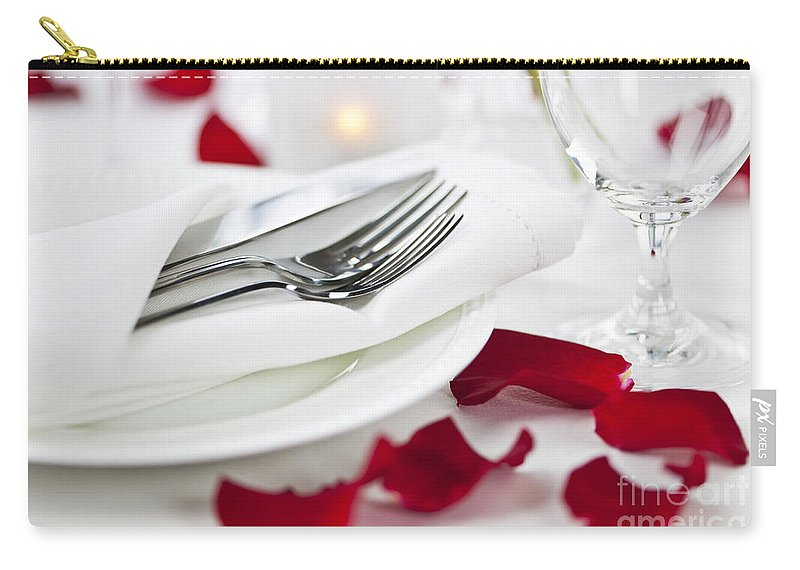 Romantic Carry-all Pouch featuring the photograph Romantic Dinner Setting With Rose Petals by Elena Elisseeva
