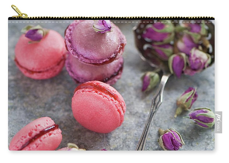 Stuffed Carry-all Pouch featuring the photograph Rose Macarons by Verdina Anna