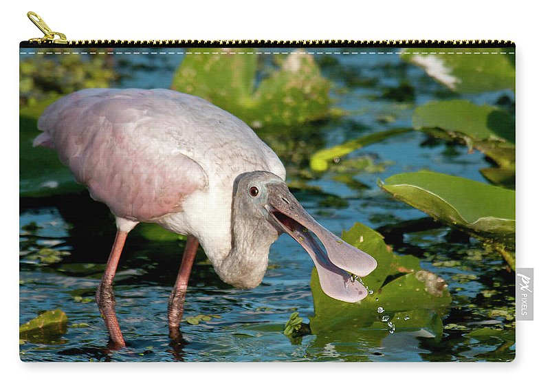 Animal Themes Carry-all Pouch featuring the photograph Roseate Spoonbill by Mark Newman