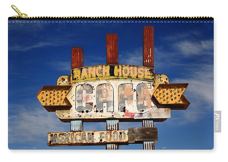 66 Carry-all Pouch featuring the photograph Route 66 Cafe by Frank Romeo