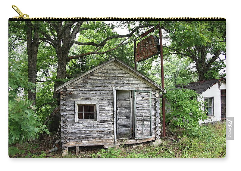 66 Carry-all Pouch featuring the photograph Route 66 - John's Modern Cabins by Frank Romeo