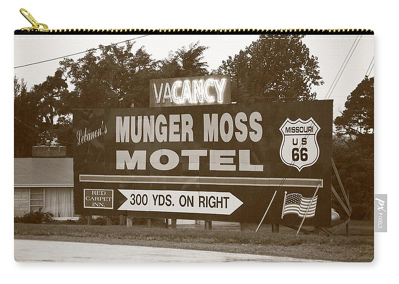 66 Carry-all Pouch featuring the photograph Route 66 - Munger Moss Motel Sign by Frank Romeo