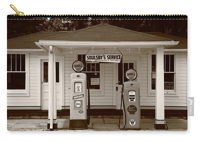 66 Carry-all Pouch featuring the photograph Route 66 - Soulsby Station Pumps by Frank Romeo
