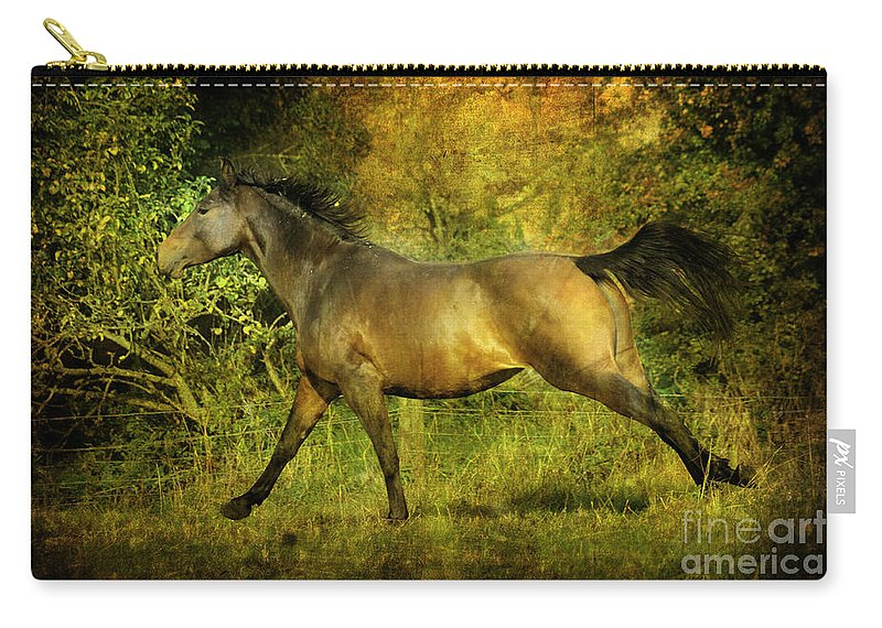 Horses Carry-all Pouch featuring the photograph Running Free by Angel Ciesniarska