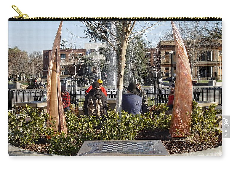 Copper Sculpture Carry-all Pouch featuring the photograph Rustic Embrace by Peter Piatt