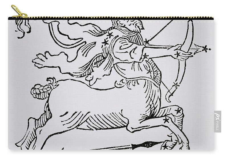 Sagittarius Carry-all Pouch featuring the drawing Sagittarius by Italian School
