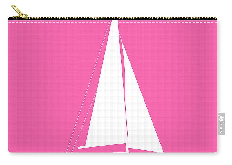 Graphic Art Carry-all Pouch featuring the digital art Sailboat In Pink And White by Jackie Farnsworth