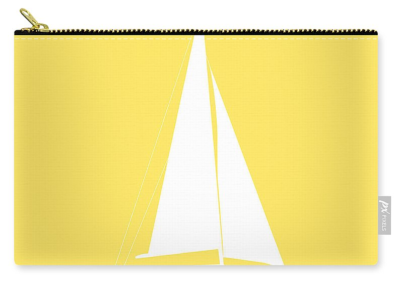 Graphic Art Carry-all Pouch featuring the photograph Sailboat In Yellow And White by Jackie Farnsworth