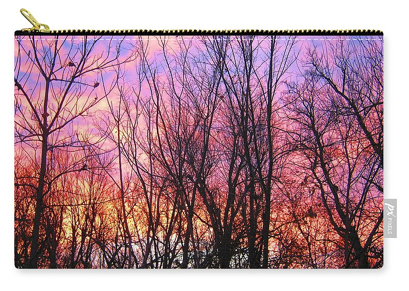 Sunrises Carry-all Pouch featuring the photograph Red Sky In Morning by Samantha Storment
