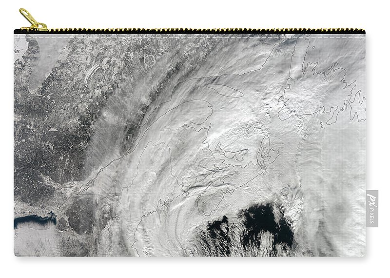 Square Image Carry-all Pouch featuring the photograph Satellite View Of A Large Noreaster by Stocktrek Images