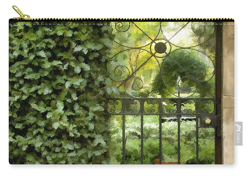 Gate Carry-all Pouch featuring the photograph Savannah Gate Impasto by Sharon Foster