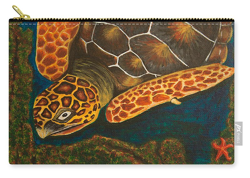 Turtle Carry-all Pouch featuring the painting Sea Turtle by Susan Cliett