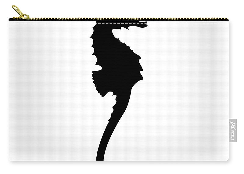 Graphic Art Carry-all Pouch featuring the digital art Seahorse In Black And White by Jackie Farnsworth