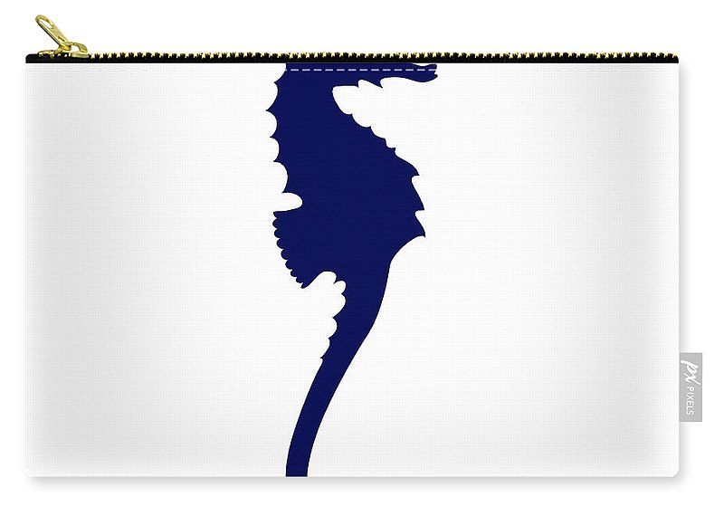 Graphic Art Carry-all Pouch featuring the digital art Seahorse In Navy And White by Jackie Farnsworth