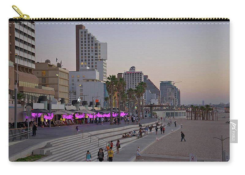 People Carry-all Pouch featuring the photograph Seaside Promenade Of Tel Aviv At Dusk by Barry Winiker