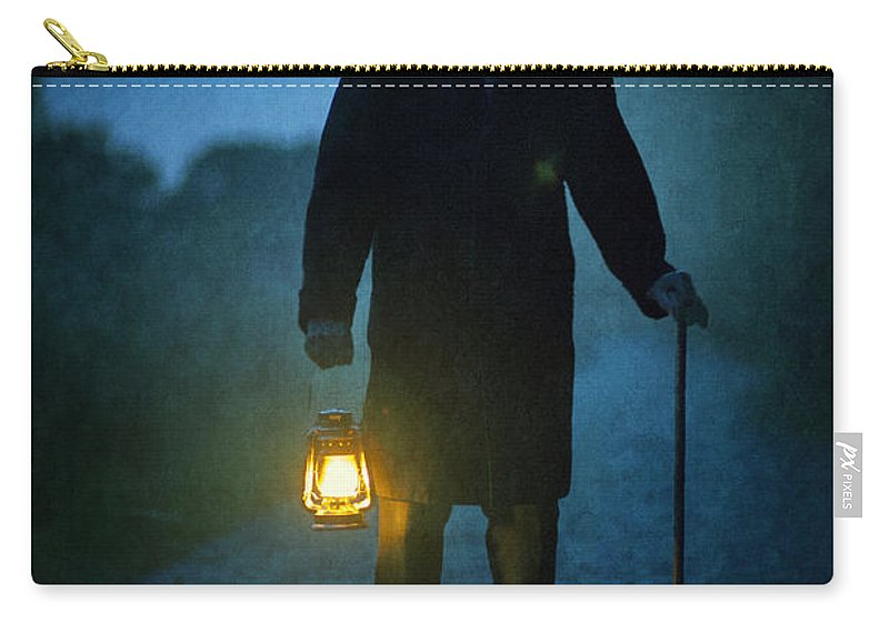 Victorian Carry-all Pouch featuring the photograph Senior Victorian Man With Lantern by Lee Avison