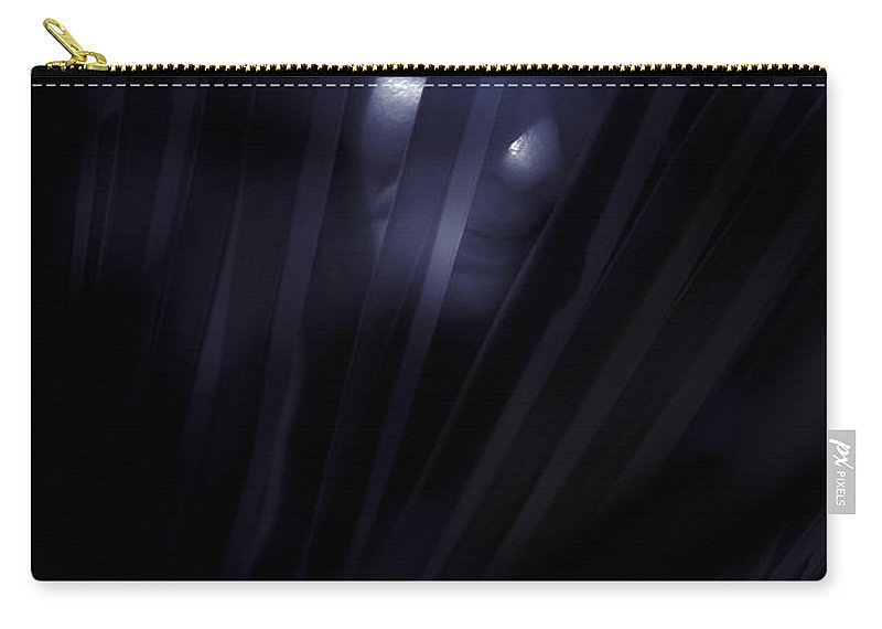 Alone Carry-all Pouch featuring the photograph Shadowed Woman Behind Frond by Jorgo Photography - Wall Art Gallery