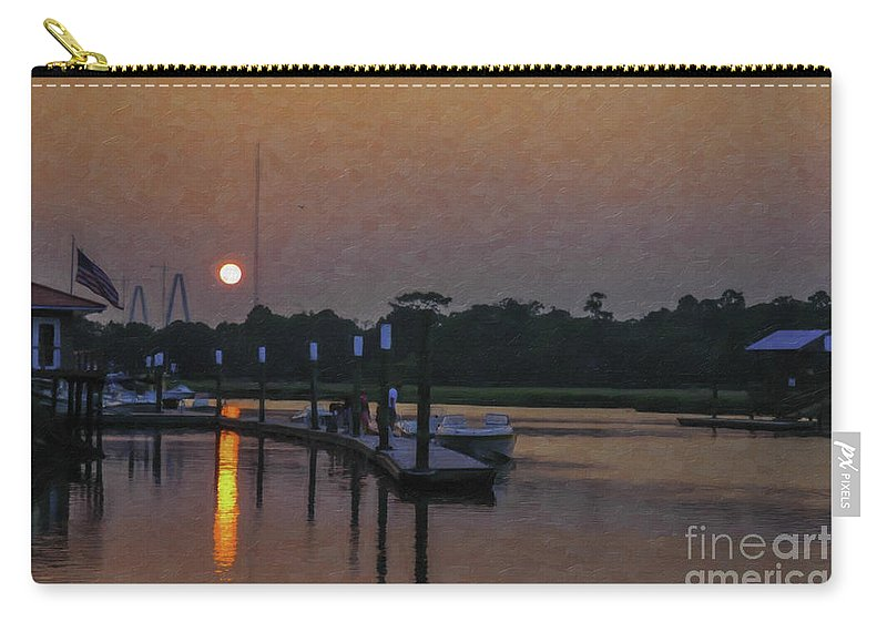 Shem Creek Carry-all Pouch featuring the digital art Sunset Life On Shem Creek by Dale Powell