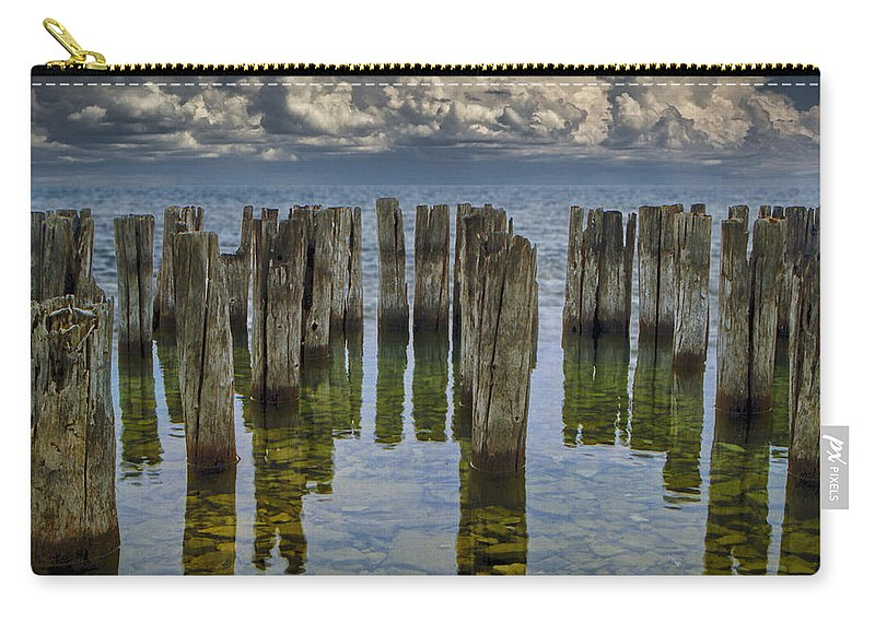 Art Carry-all Pouch featuring the photograph Shore Pilings At Fayette State Park by Randall Nyhof