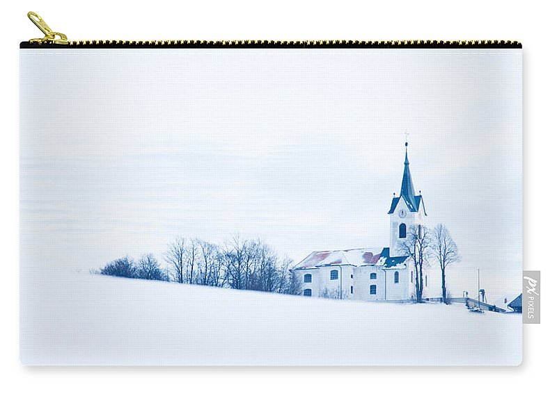 Church Carry-all Pouch featuring the photograph Snowy Church by Ian Middleton