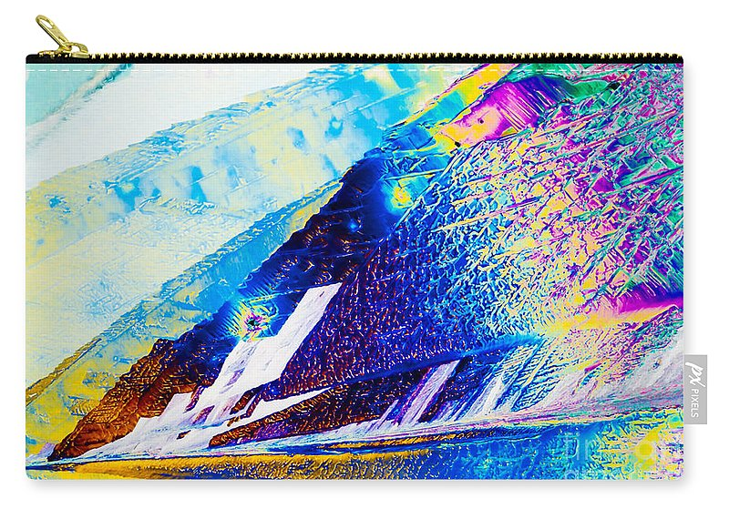 Abstract Carry-all Pouch featuring the photograph Sodium Thiosulphate Crystals In Polarized Light by Stephan Pietzko