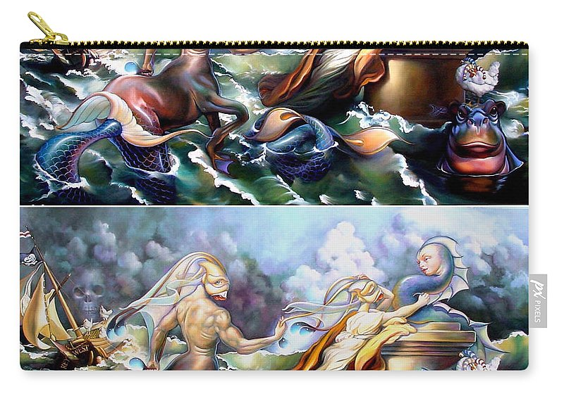 Mermaid Carry-all Pouch featuring the painting Something Fowl Afloat Redux by Patrick Anthony Pierson