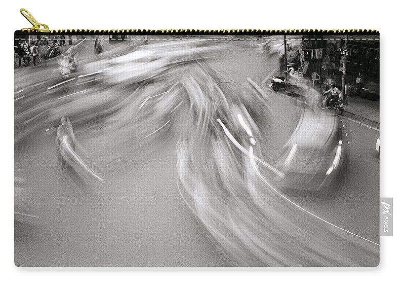 Black And White Carry-all Pouch featuring the photograph Swirling Motion by Shaun Higson