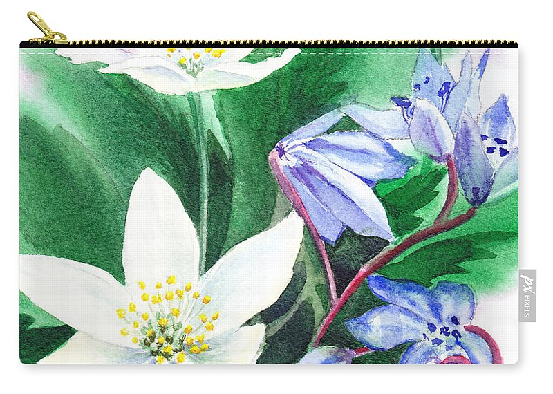 Jasmime Carry-all Pouch featuring the painting Spring Flowers by Irina Sztukowski