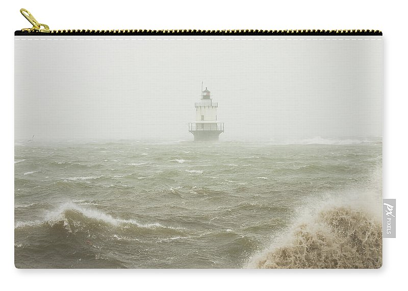 Maine Lighthouses Carry-all Pouch featuring the photograph Spring Point Ledge Lighthouse In Storm In Portland Maine by Keith Webber Jr