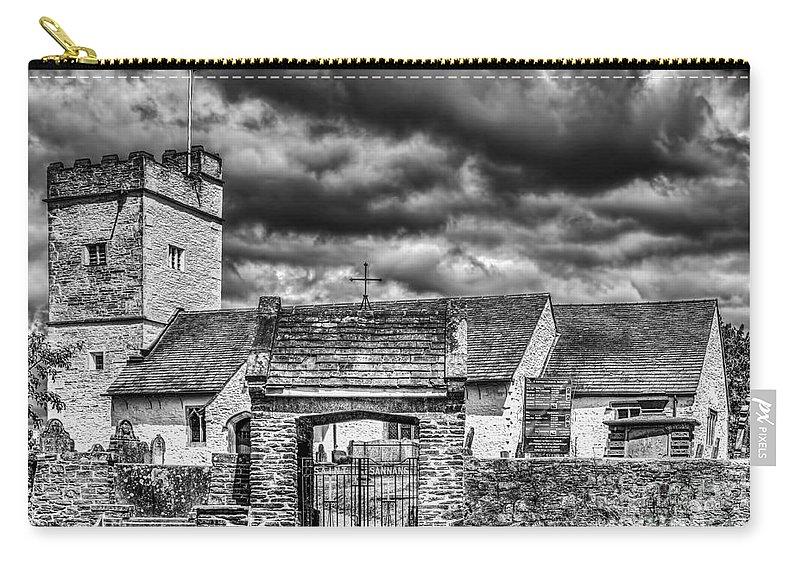 St Sannans Church Carry-all Pouch featuring the photograph St Sannans Church Bedwellty Mono by Steve Purnell