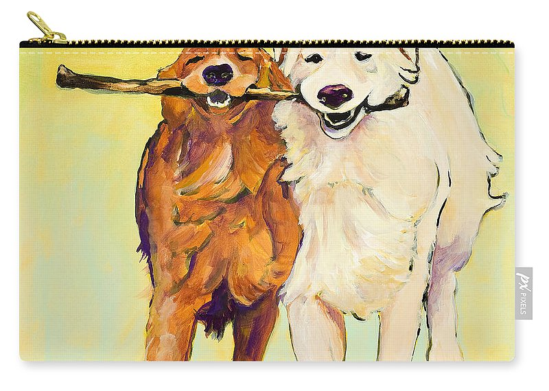 Pat Saunders-white Carry-all Pouch featuring the painting Stick With Me by Pat Saunders-White