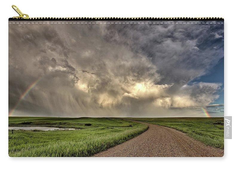 Nature Carry-all Pouch featuring the digital art Storm Clouds Prairie Sky Saskatchewan by Mark Duffy