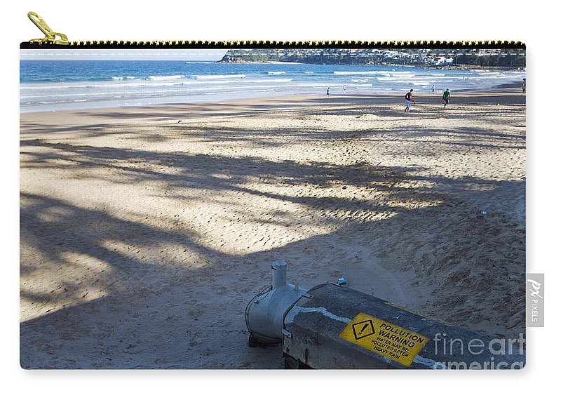 Travel Carry-all Pouch featuring the photograph Storm Drainage Pipe On Manly Beach by Jason O Watson