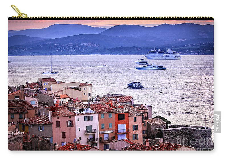 Tropez Carry-all Pouch featuring the photograph St.tropez At Sunset by Elena Elisseeva