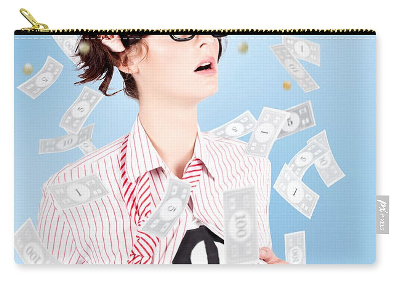 Adult Carry-all Pouch featuring the photograph Successful Female Business Superhero Winning Money by Jorgo Photography - Wall Art Gallery