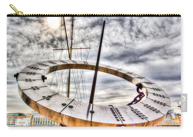 Sun Carry-all Pouch featuring the photograph Sundial St Katherines Dock by David Pyatt