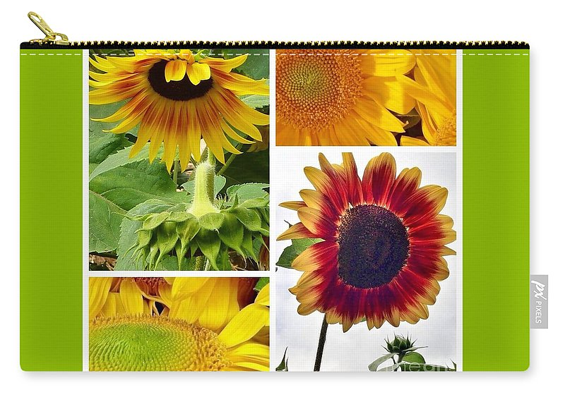 Sunflower Collage Carry-all Pouch featuring the photograph Sunflower Collage  by Susan Garren