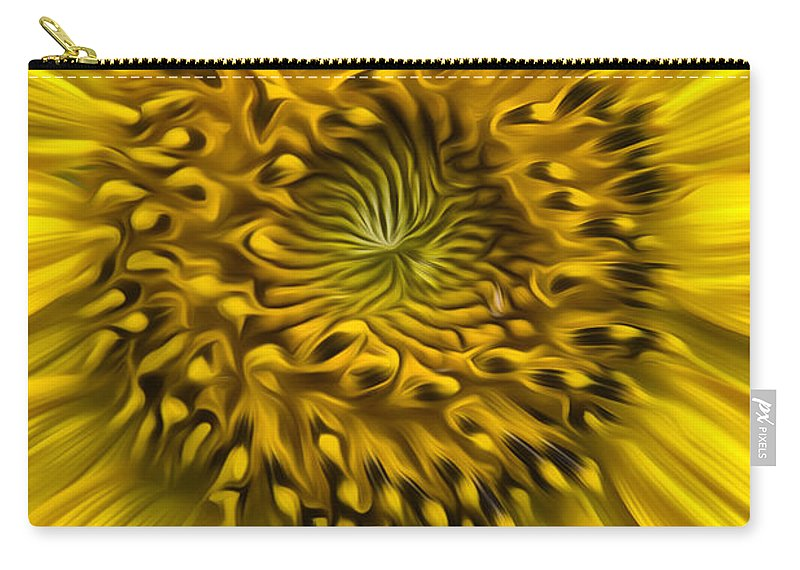 Sunflower Carry-all Pouch featuring the photograph Sunflower In Oil Paint by Erika Fawcett