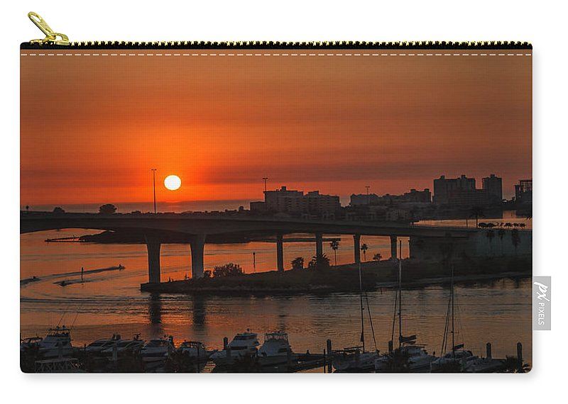 Clearwater Beach Carry-all Pouch featuring the photograph Sunset Over The Bridge by Jane Luxton