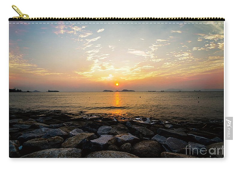 Blue Carry-all Pouch featuring the painting Sunset by Philip HP Wong