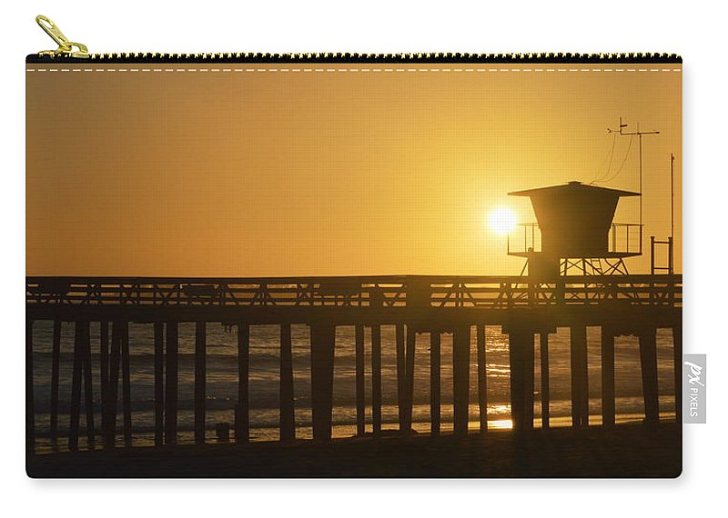 Scenic Carry-all Pouch featuring the photograph Sunset On The Pier by AJ Schibig