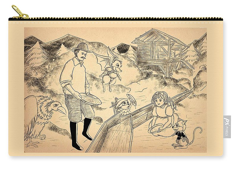 Gold Carry-all Pouch featuring the painting Sutter's Mill by Reynold Jay