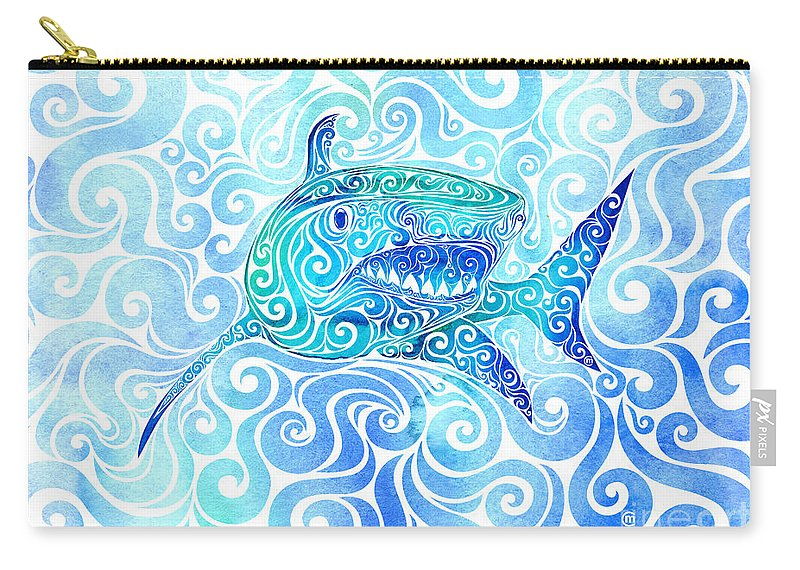 Swirly Carry-all Pouch featuring the mixed media Swirly Shark by Carolina Matthes