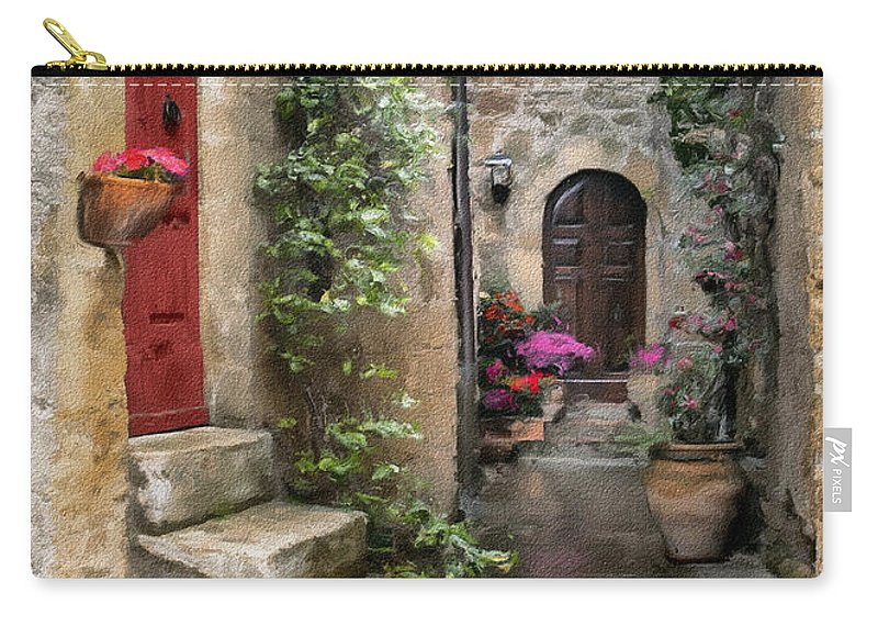 Door Carry-all Pouch featuring the photograph Tarquinia Red Door Impasto by Sharon Foster